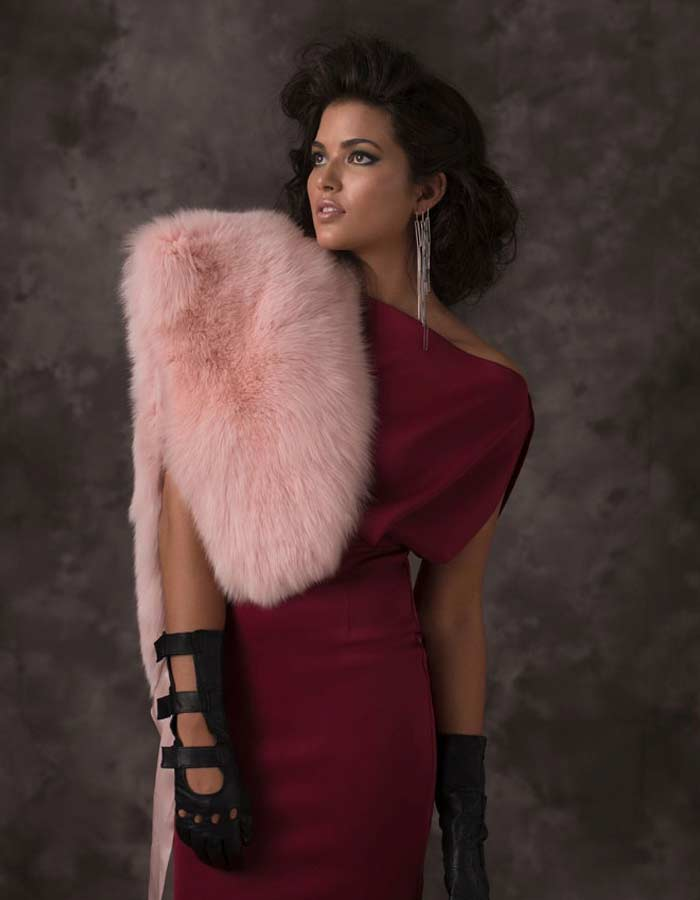 Pink fur stole