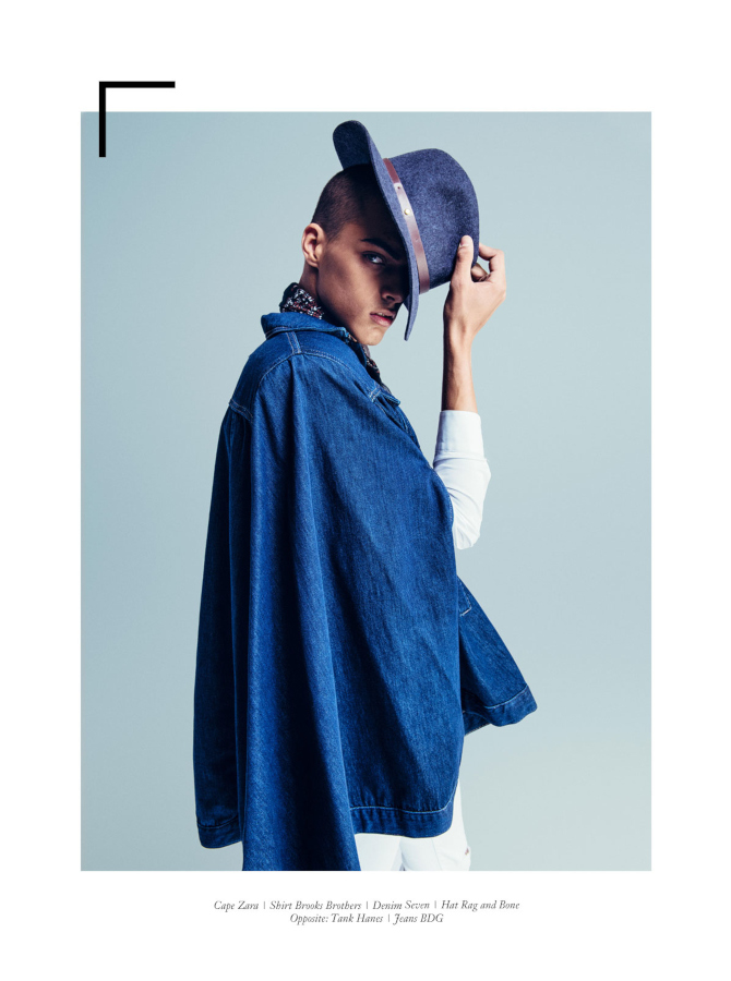 Male model Angel in denim cape. Latest Magazine. Anna Wong stylist