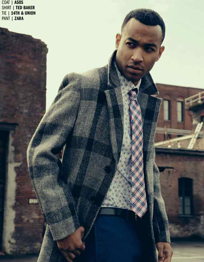 Male model in checked coat. London's burning editorial.Huf Magazine